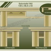 12. Salontafel nr. 502  130x58,5x43