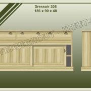 19. Dressoir nr. 205  186x48x90