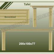 28. Tafel met blokpoten  200x100x77