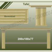 29. Tafel met zuilpoten 200x100x77