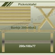 32. Picknicktafel 200x100x77 en bankje 200x40x42